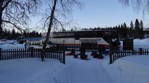 Příjezd autobusem do Kvikkjokku a začátek naší cesty.